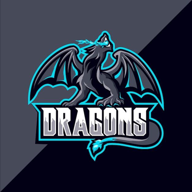Logo Maskotka Sportowa Smoka Premium Wektorów