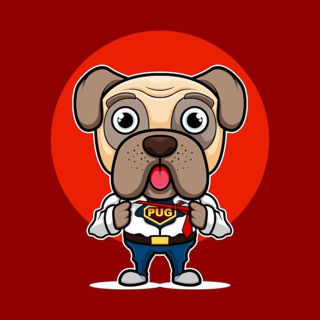 Logo Maskotka Super Mops Pies Premium Wektorów