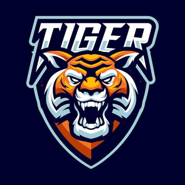 Logo Maskotka Tygrysa Głowy Dla Sportu I E-sportu Na Białym Tle Premium Wektorów
