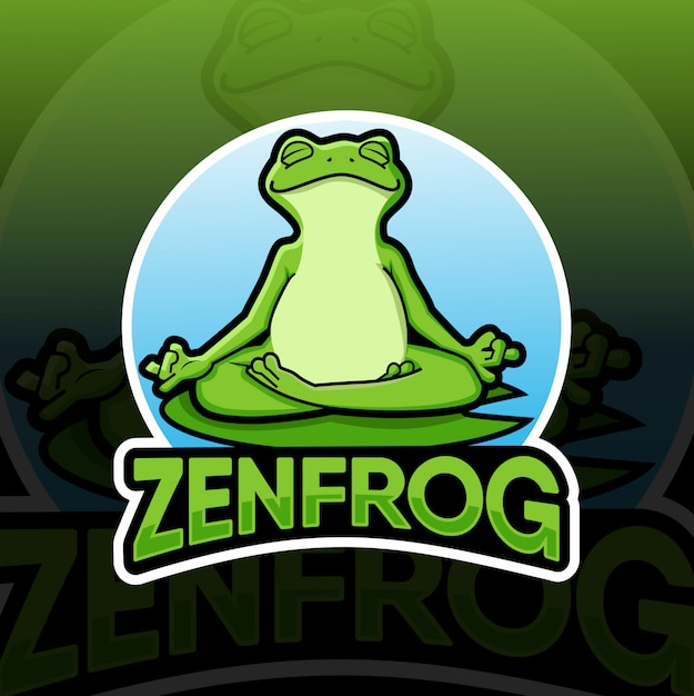 Logo maskotka zen frog Premium Wektorów