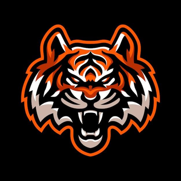Logo Maskotka Zły Tygrys Premium Wektorów