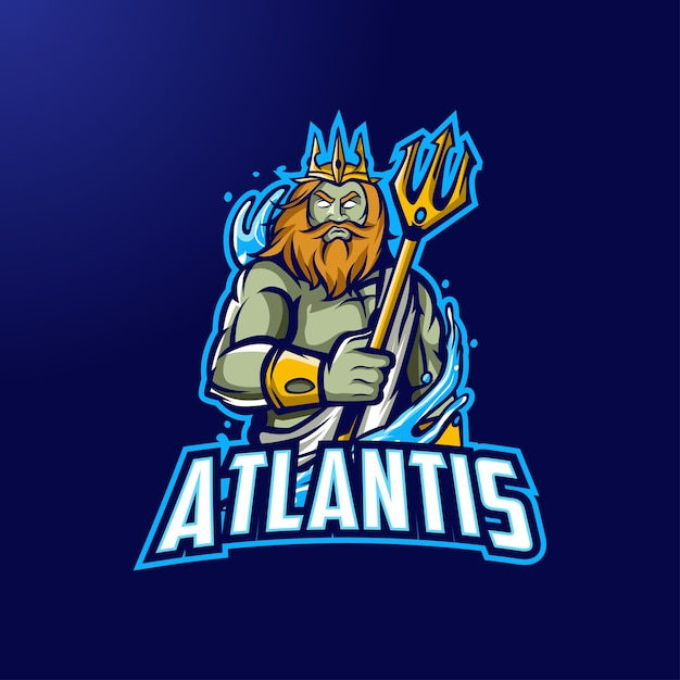 Logo Maskotki Atlantis Dla E-sportu I Sportu Premium Wektorów
