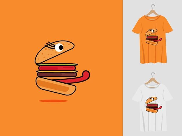 Logo Maskotki Burger Z T-shirtem. Ilustracja Głowy Lisa Dla Drużyny Sportowej I Koszulki Z Nadrukiem. Premium Wektorów