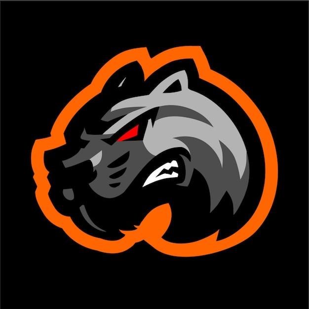 Logo Maskotki Czarny Tygrys Premium Wektorów