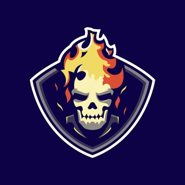Logo Maskotki Czaszki Ognia Premium Wektorów