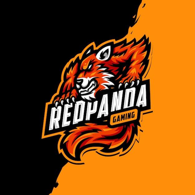 Logo Maskotki Czerwonej Pandy Premium Wektorów