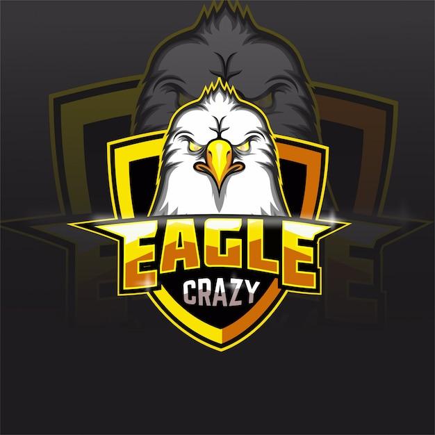 Logo Maskotki Drużyny E-sportowej Crazy Eagle Premium Wektorów