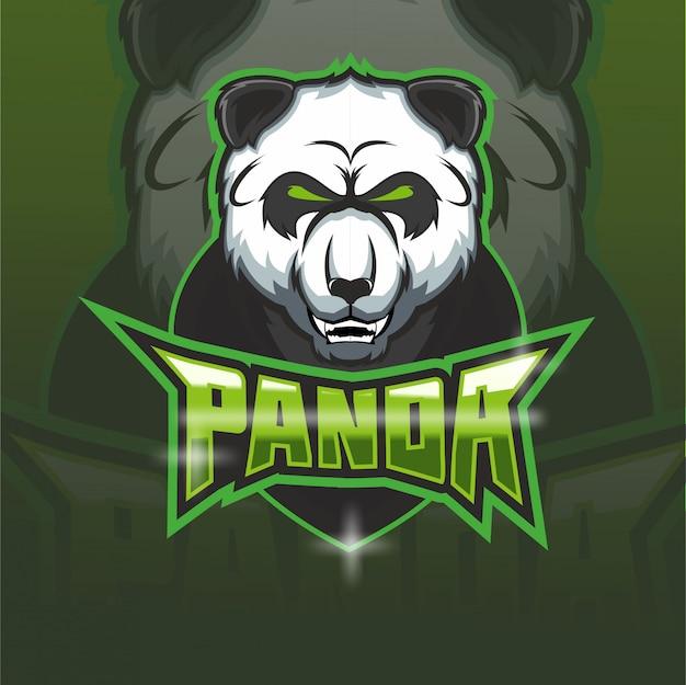 Logo Maskotki Drużyny E-sportowej Panda Premium Wektorów
