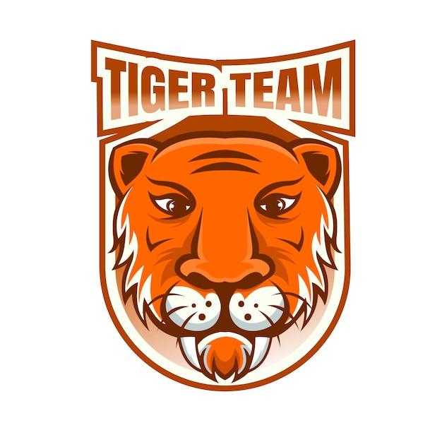 Logo Maskotki Drużyny E-sportowej Tiger Team Premium Wektorów