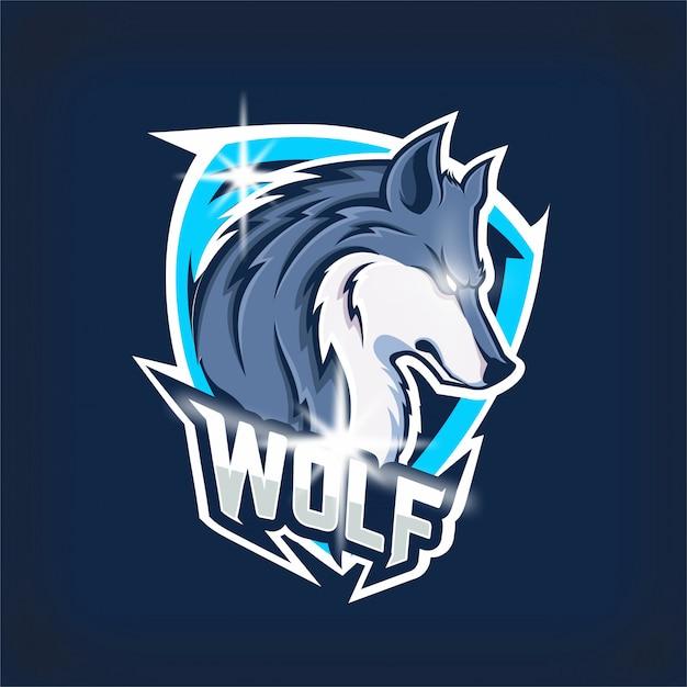 Logo Maskotki Drużyny E-sportowej Zły Wilk Premium Wektorów