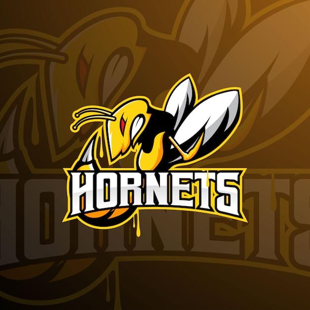 Logo Maskotki Drużyny Szerszeń, Pszczoła, Osa E-sport Premium Wektorów
