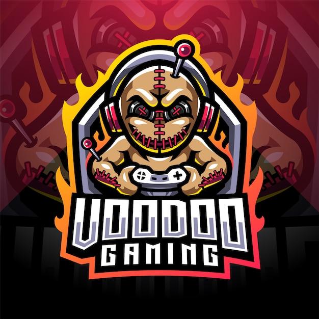 Logo Maskotki E-sportowej Gry Voodoo Premium Wektorów