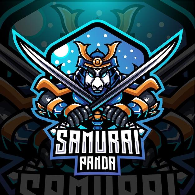 Logo Maskotki E-sportowej Pandy Samurajskiej Premium Wektorów