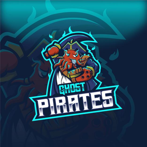 Logo maskotki esport banee ghost pirates Premium Wektorów