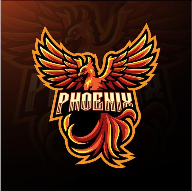 Logo Maskotki Esport Phoenix Premium Wektorów