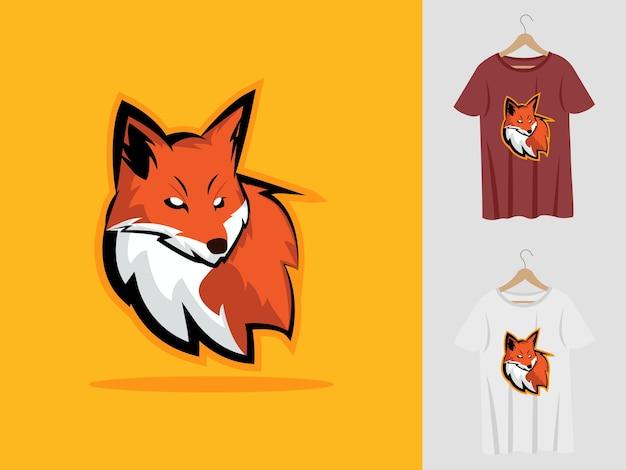 Logo Maskotki Fox Z T-shirtem. Ilustracja Głowy Lisa Dla Drużyny Sportowej I Koszulki Z Nadrukiem. Premium Wektorów