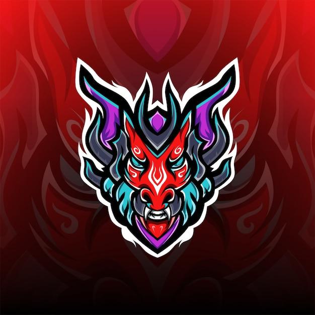 Logo Maskotki Gier Czerwony Smok Potwory Premium Wektorów
