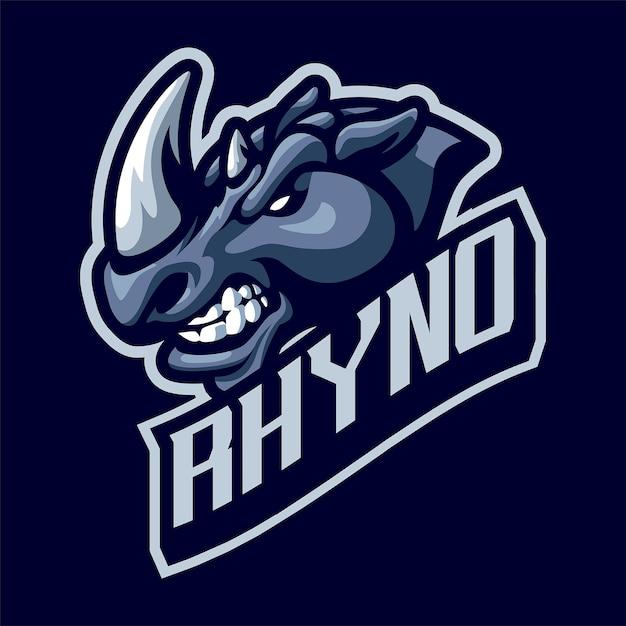 Logo Maskotki Głowy Nosorożca Dla Sportu I E-sportu Na Białym Tle Premium Wektorów