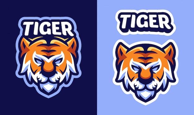 Logo Maskotki Głowy Tygrysa Dla Sportu I E-sportu Premium Wektorów