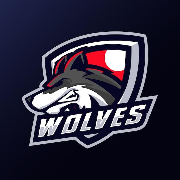 Logo Maskotki Głowy Wilków Premium Wektorów