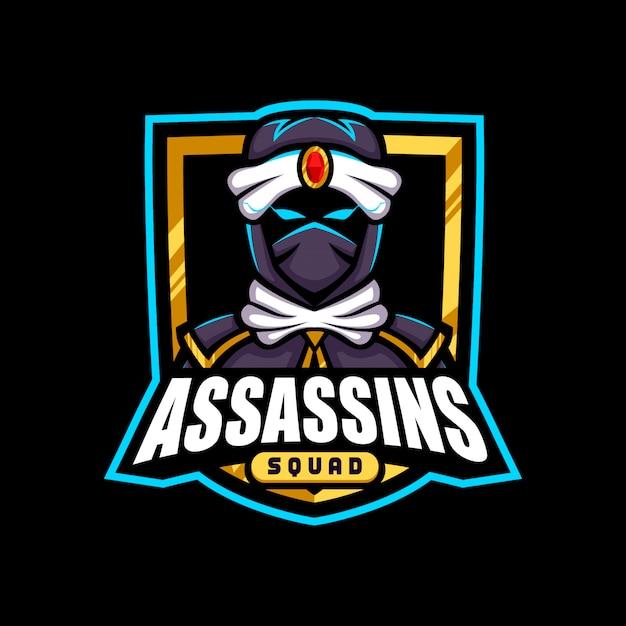 Logo Maskotki Gold Army Assasins Premium Wektorów