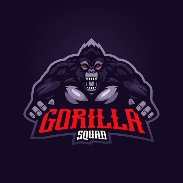 Logo Maskotki Goryla Z Nowoczesną Koncepcją Ilustracji Premium Wektorów