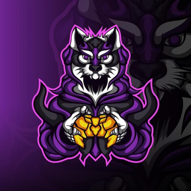 Logo Maskotki Gracza Pustynnego Kota Premium Wektorów