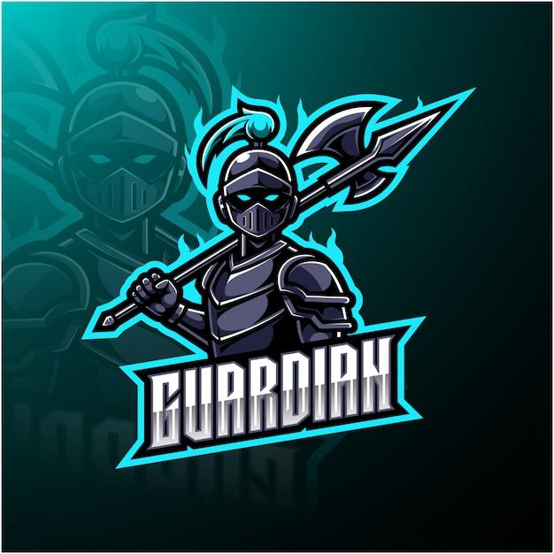Logo Maskotki Guardian Esports Premium Wektorów