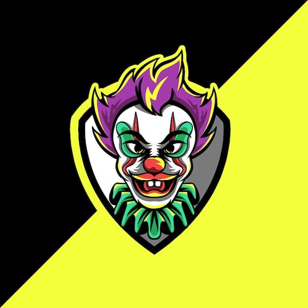 Logo Maskotki Klauna Esport Premium Wektorów