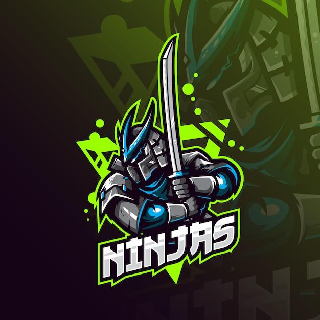Logo Maskotki Ninja Premium Wektorów