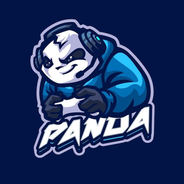 Logo Maskotki Panda Dla Drużyny Esportowej I Sportowej Premium Wektorów