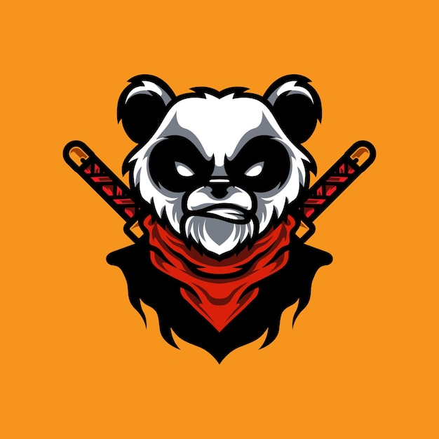 Logo Maskotki Panda Ninja E Sport Premium Wektorów