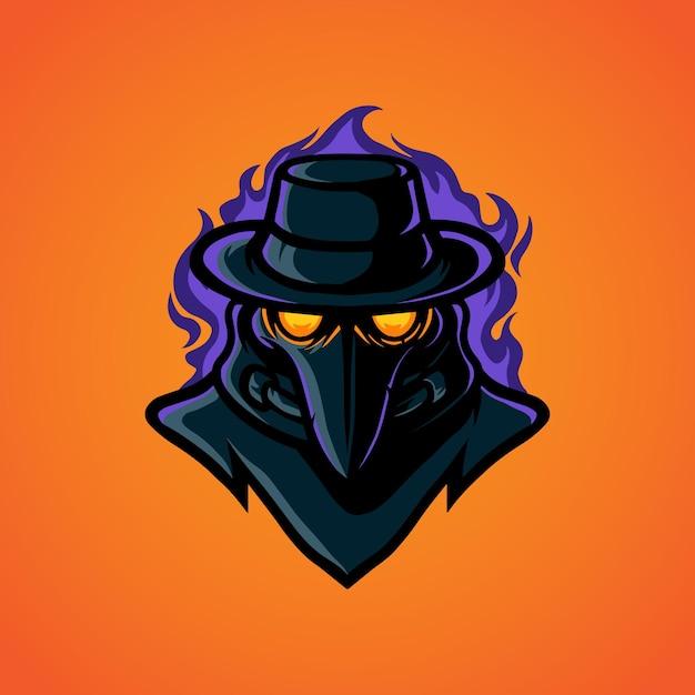 Logo Maskotki Plague Head E Sport Premium Wektorów