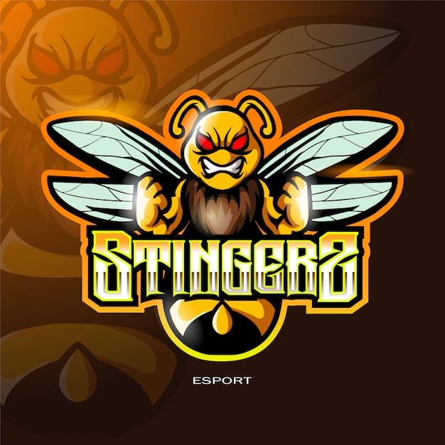 Logo Maskotki Pszczoły Do Logo Gier Sportowych Elektronicznych Premium Wektorów