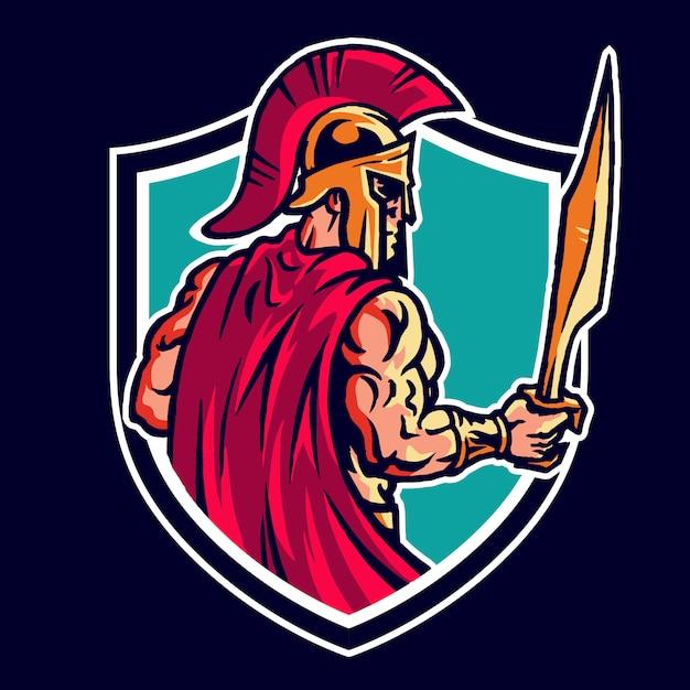 Logo Maskotki Spartan Warrior Premium Wektorów