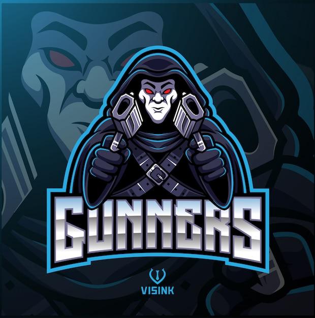 Logo maskotki sportowca strzeleckiego Premium Wektorów