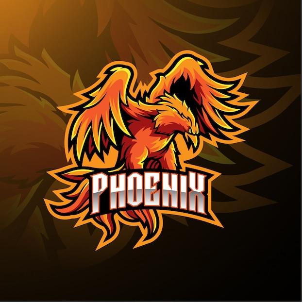 Logo Maskotki Sportowej Phoenix Premium Wektorów