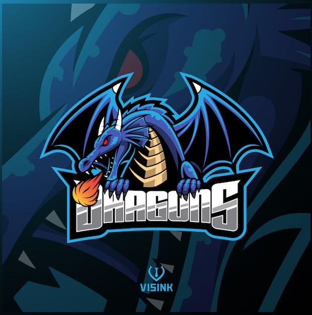 Logo maskotki sportowej smoka Premium Wektorów