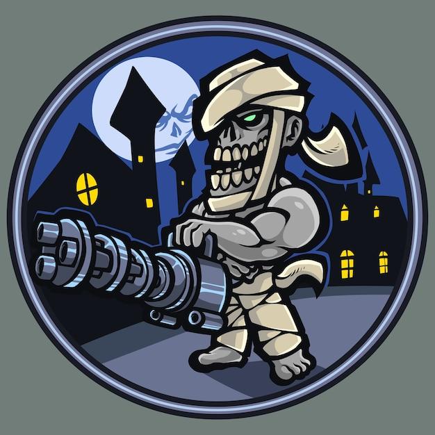 Logo Maskotki Strzelca Zombie Premium Wektorów
