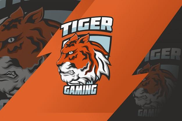 Logo Maskotki Tiger E Sport Premium Wektorów