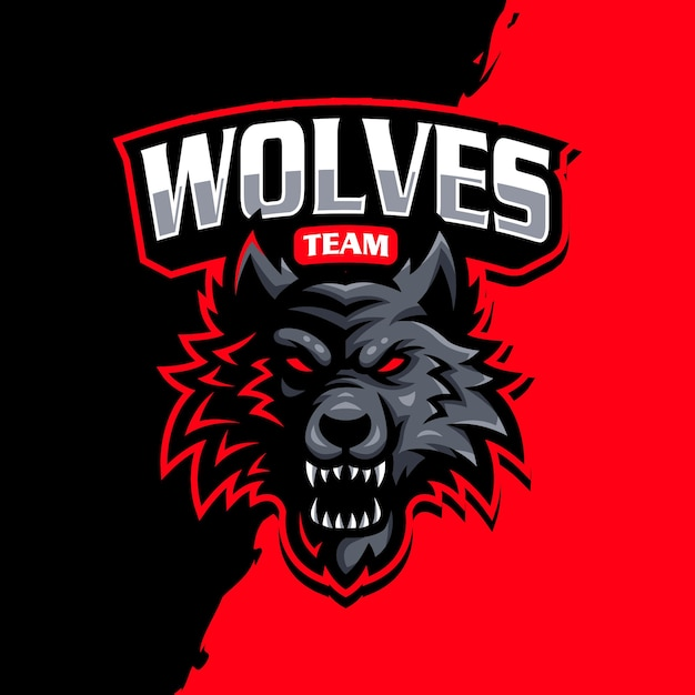 Logo Maskotki Wilki Do Gier E-sportowych Premium Wektorów