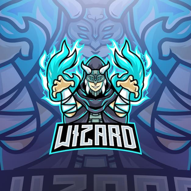 Logo Maskotki Wizard Esports Premium Wektorów