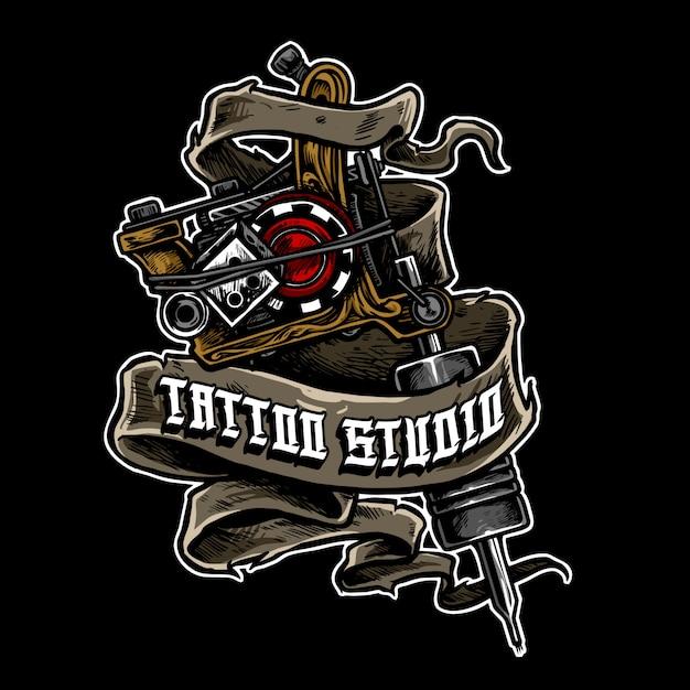 Logo maszyny do tatuażu Premium Wektorów