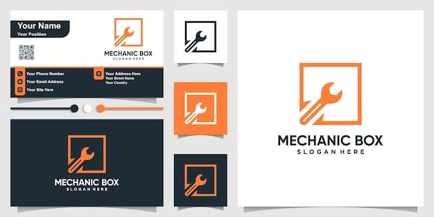 Logo Mechanika Ze Stylem Konturu Kwadratowego Pudełka I Biznesem Premium Wektorów