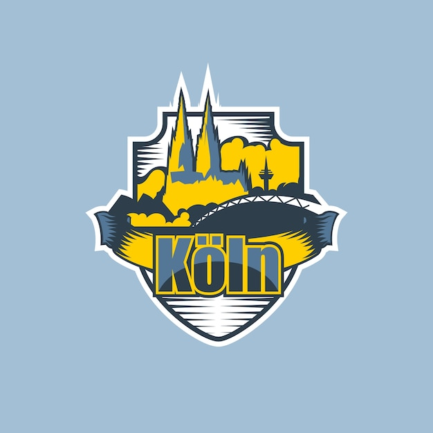 Logo Miasta Kolonia W Dwóch Kolorach. Premium Wektorów