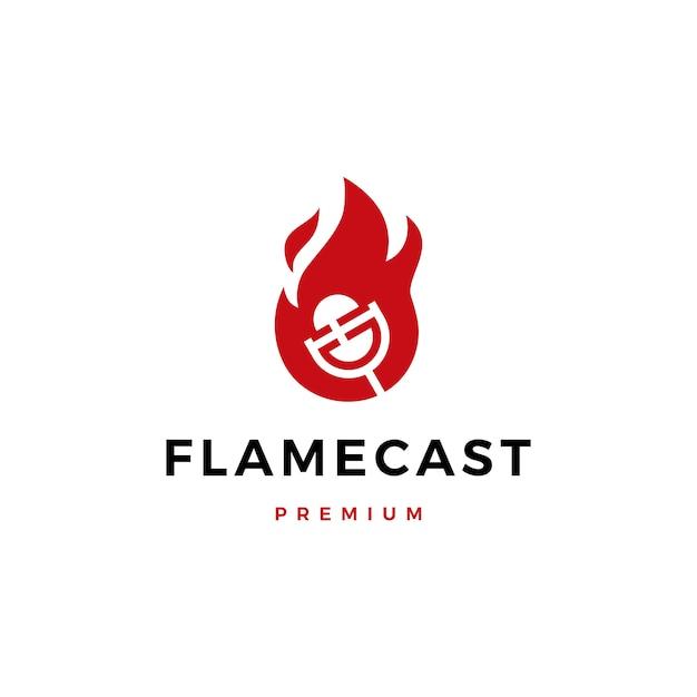 Logo Mikrofonu Podcastu Flame Fire Premium Wektorów