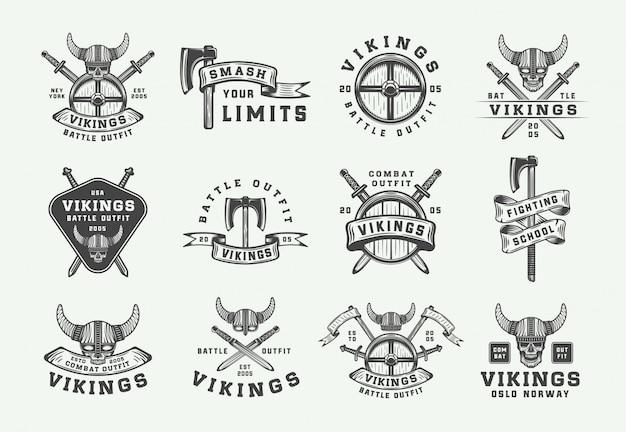 Logo motywacyjne w stylu vintage wikingów Premium Wektorów