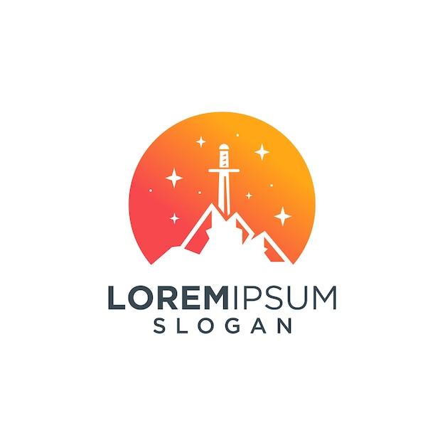 Logo mountain sword Premium Wektorów