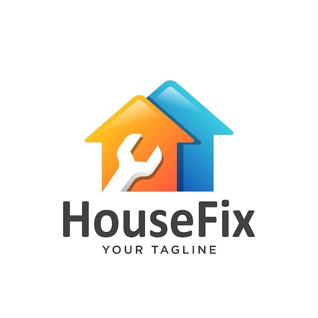 Logo naprawy domu proste czyste. Premium Wektorów