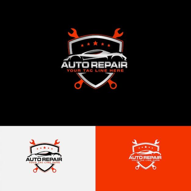 Logo Naprawy Samochodów Z Konturem Samochodu Premium Wektorów